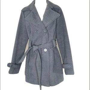 Jou Jou Gray Felt Double Breasted Jacket Sz XL